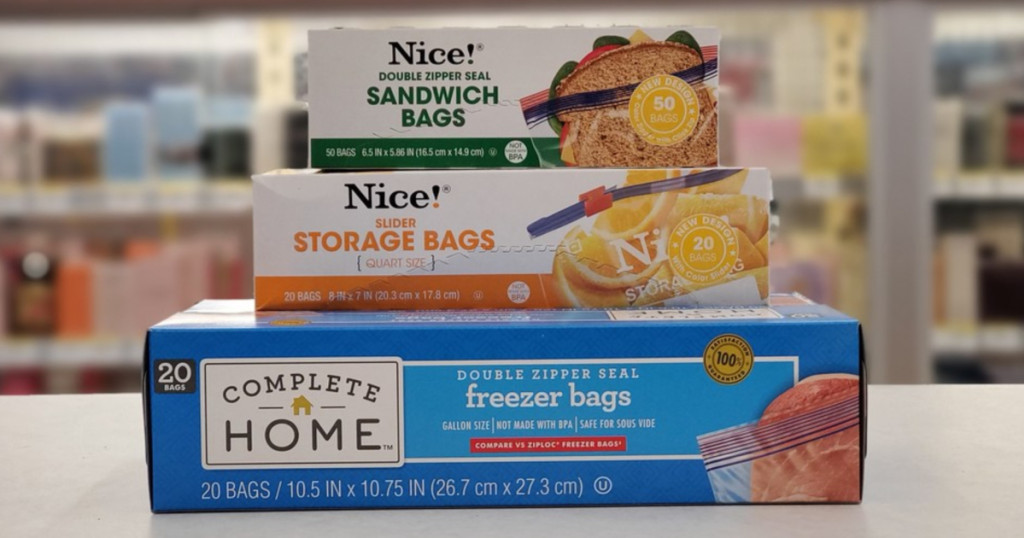 stack of Nice! storage bags