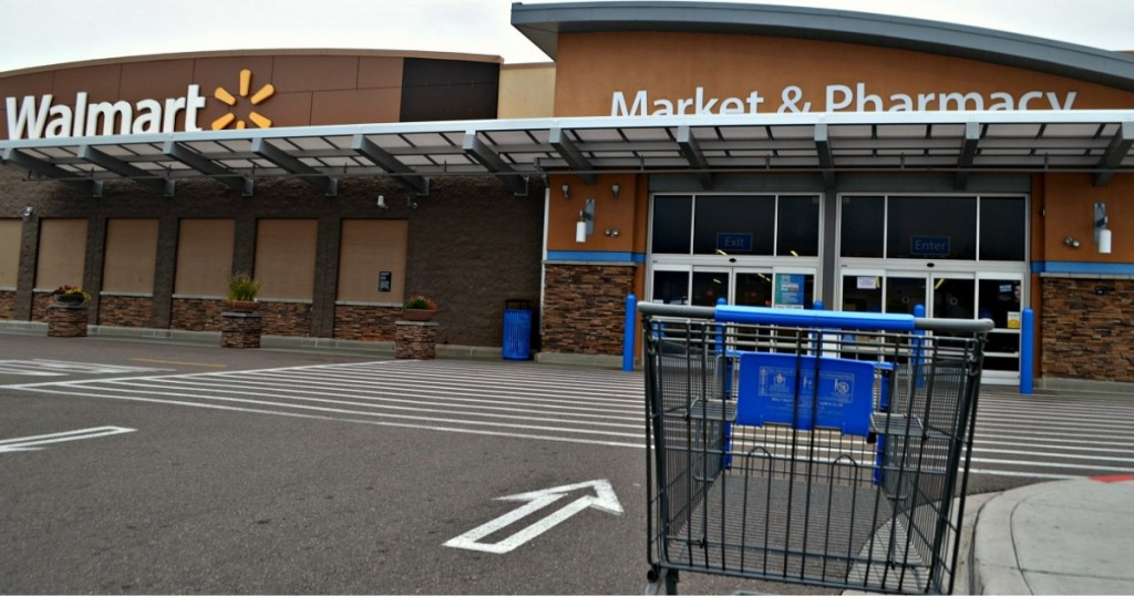Walmart store front with cart
