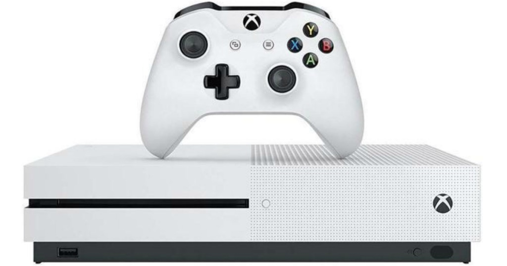 white xbox one s 1tb with white controller on top