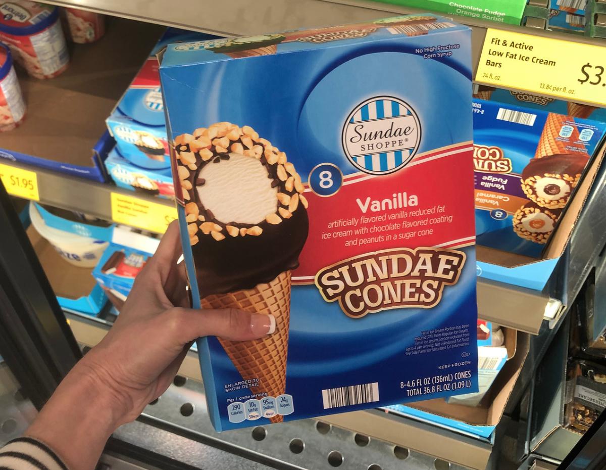vanilla sundae cones at Aldi