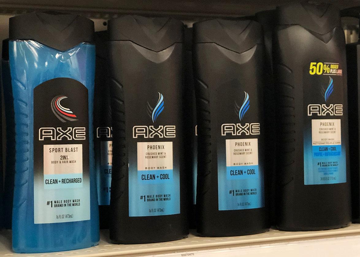 axe bodywash on a shelf