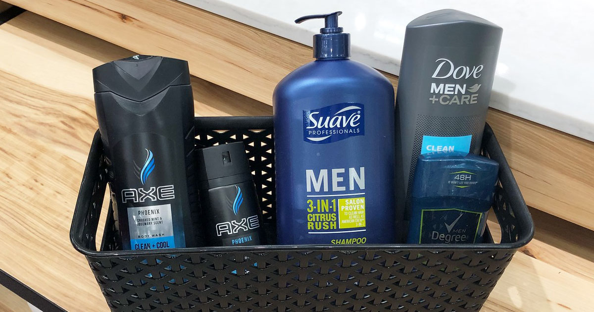 axe products in a plastic bin