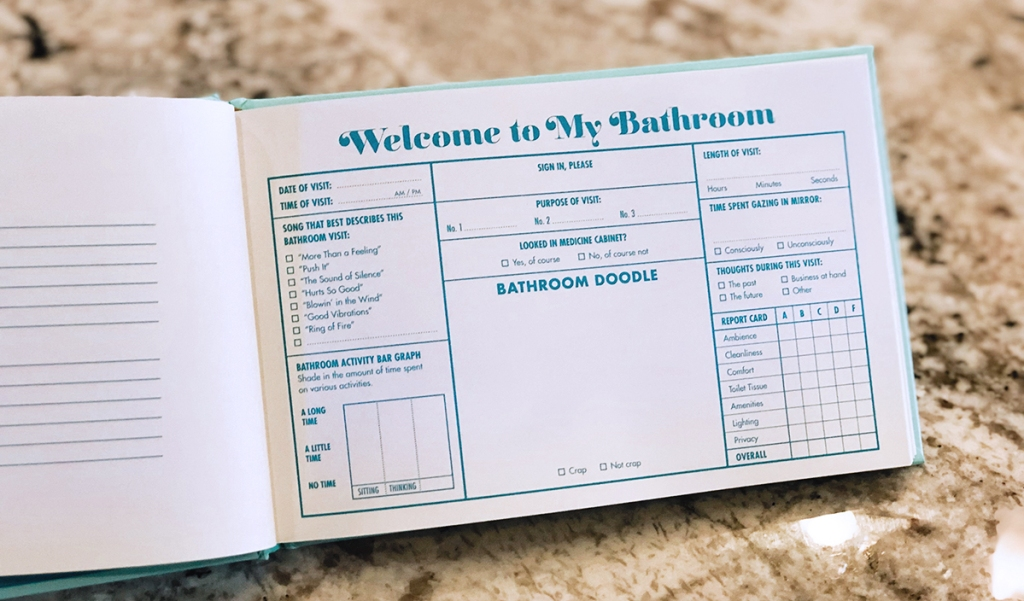 bathroom guest book entry page