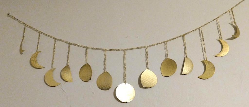 handmade hammered moon wall decor