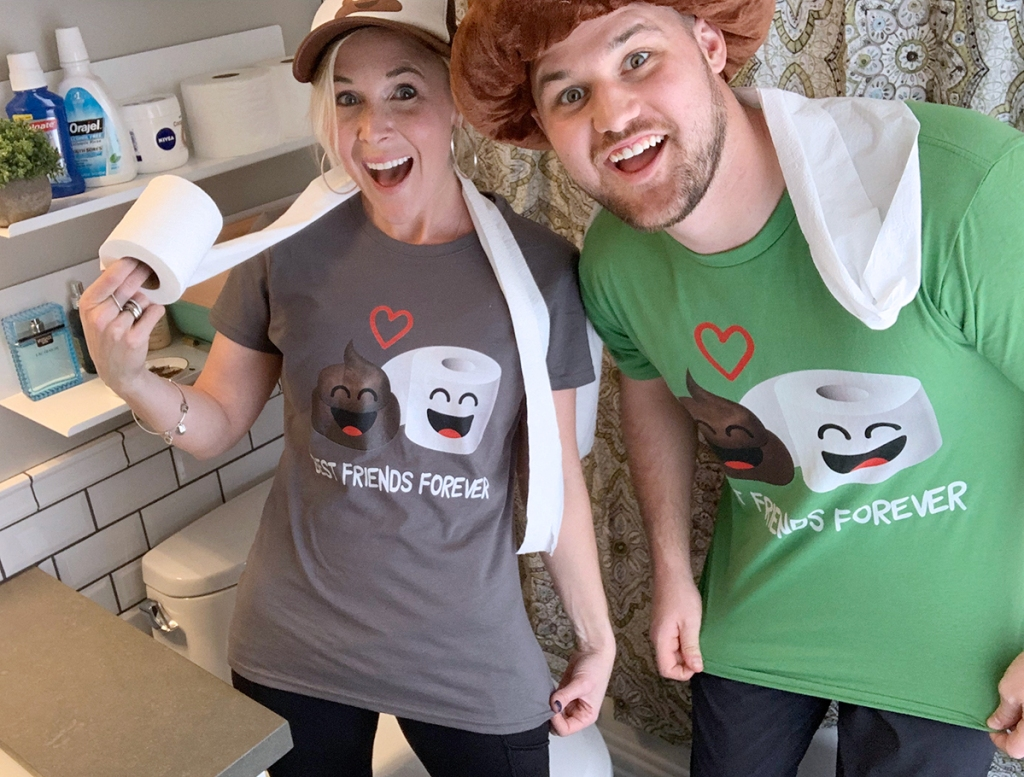 man and woman wearing poop and toilet paper shirts