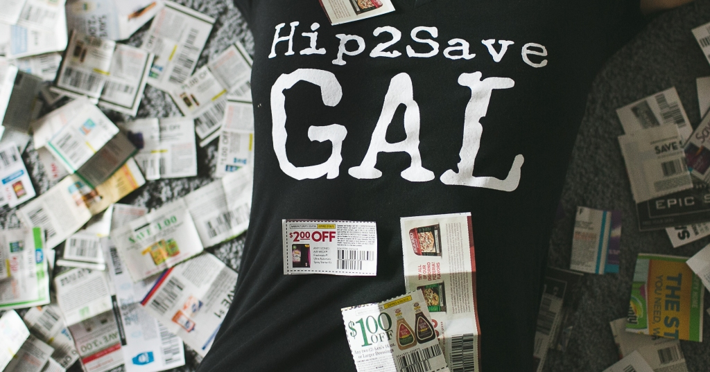 collin wearing hip2save gal t shirt with coupons all around her