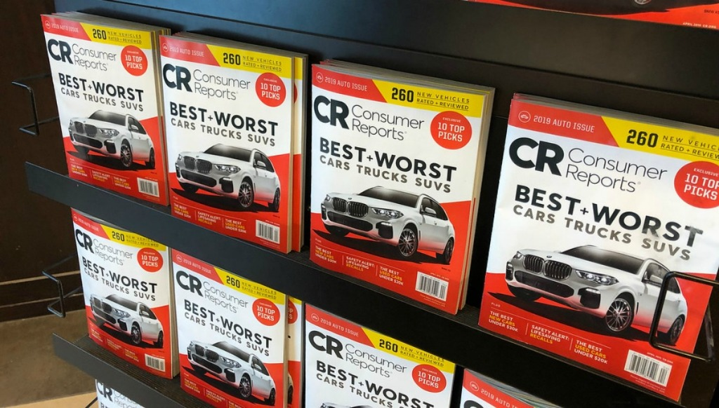 magazine rack with rows of consumer reports magazines