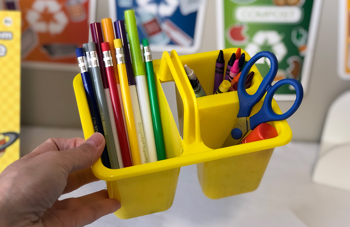 happy friday homeschooling center decor — dollar tree organizer for supplies