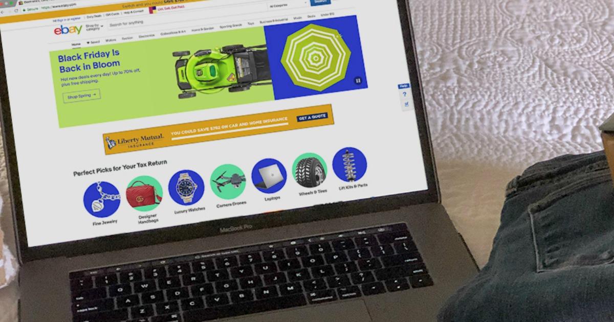 laptop displaying ebay website