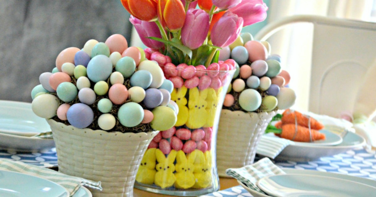 Easter peeps craft idea as a centerpiece on the table
