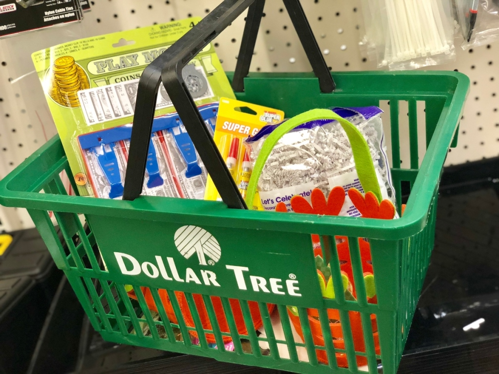 Dollar Tree basket full of Easter supplies