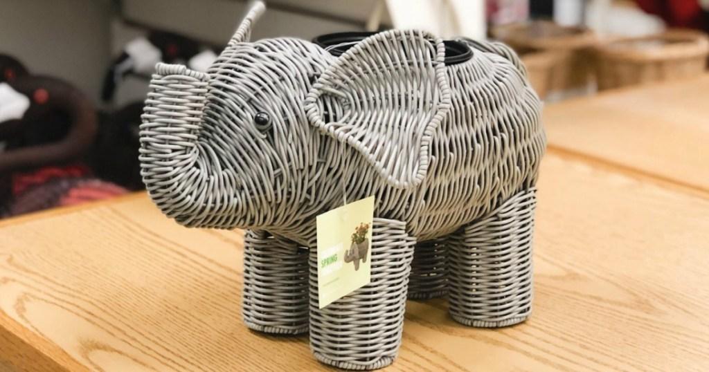 elephant planter sitting on shelf