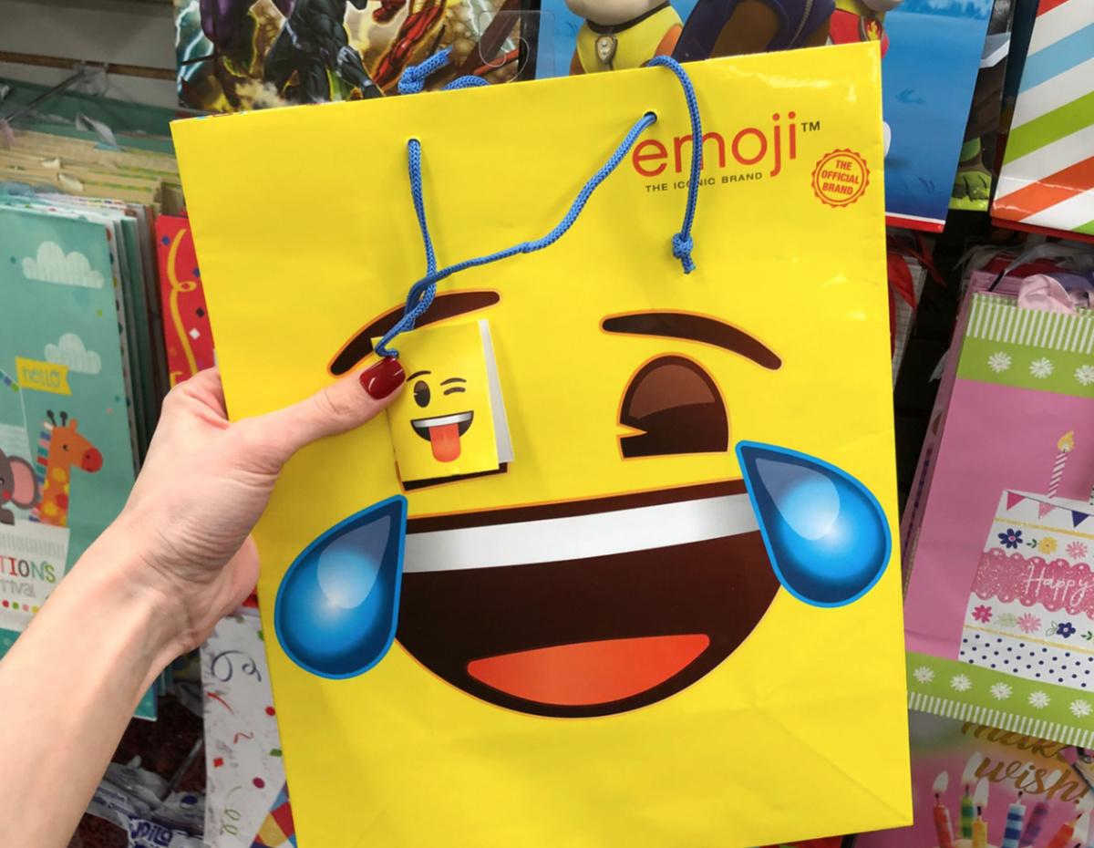 emoji gift bags at Dollar Tree