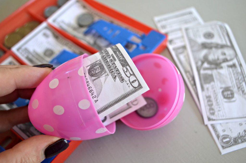 hiding fake money in easter eggs