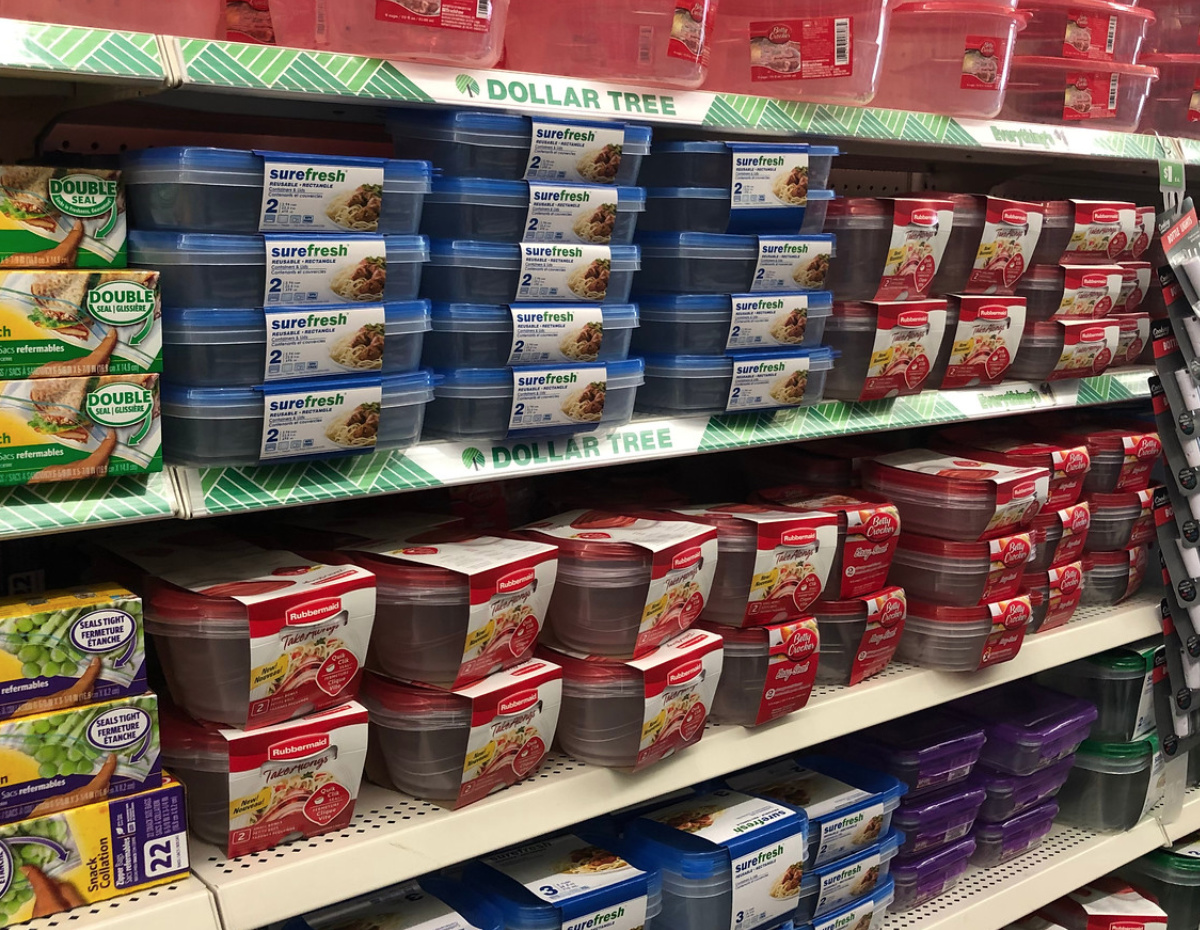 food storage containers at Dollar Tree