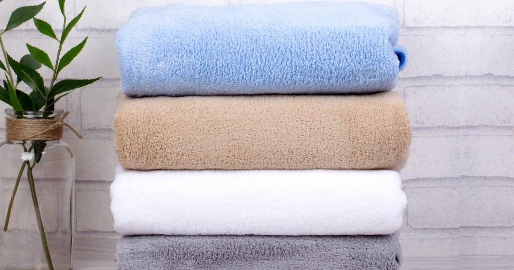 High Density 2 Piece 100 Plush Fleece Bath Towel Set As Low As