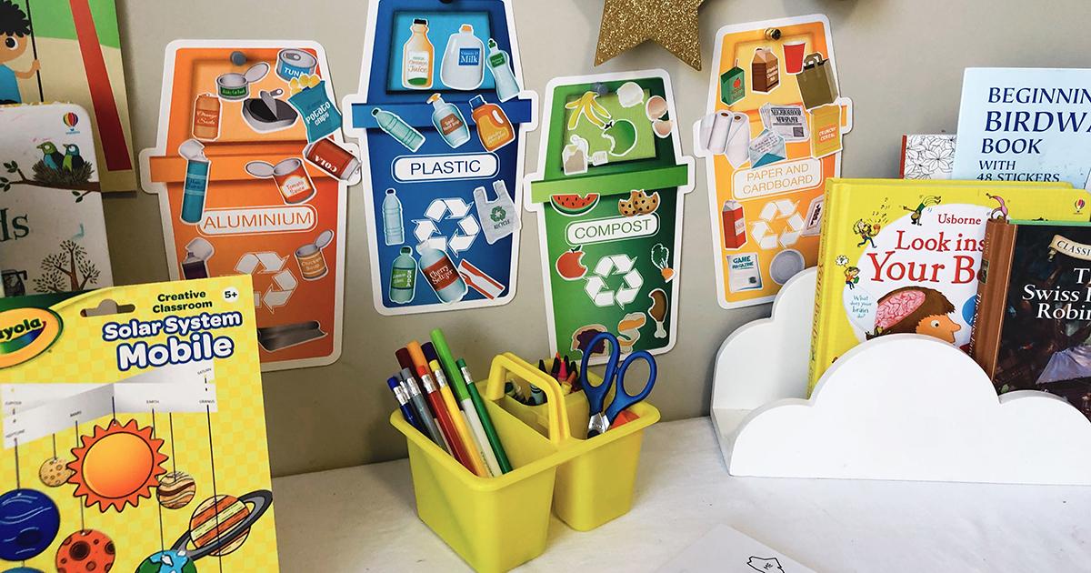 happy friday homeschooling center decor — dollar tree supplies and decor