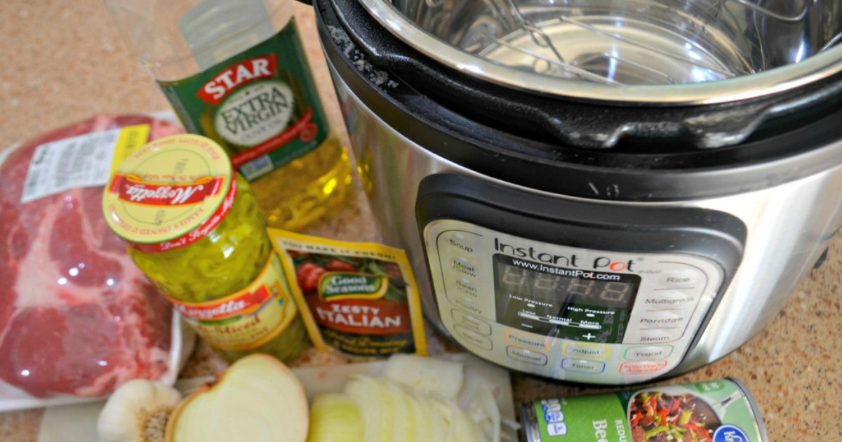 Instant Pot and ingredients for a recipe on a counter