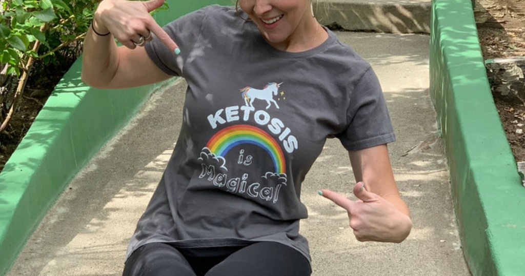 woman wearing gray t-shirt that says ketosis is magical