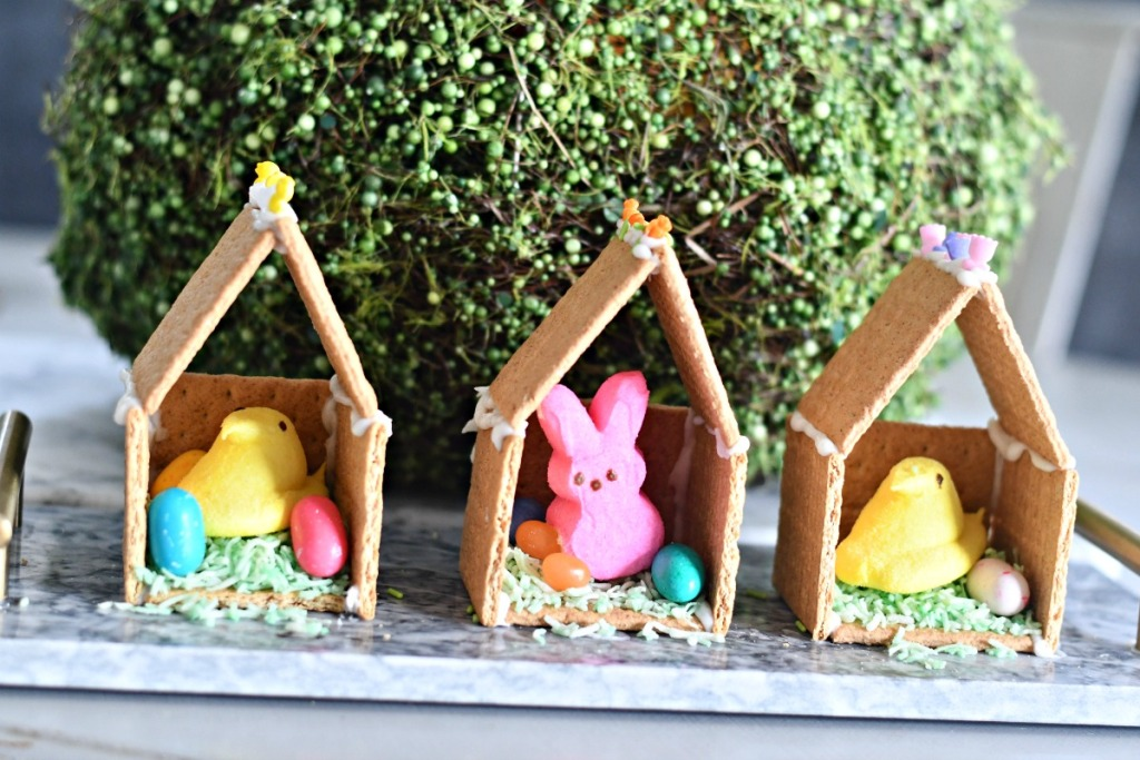 Easter Peeps Houses as seasonal decor on a tray