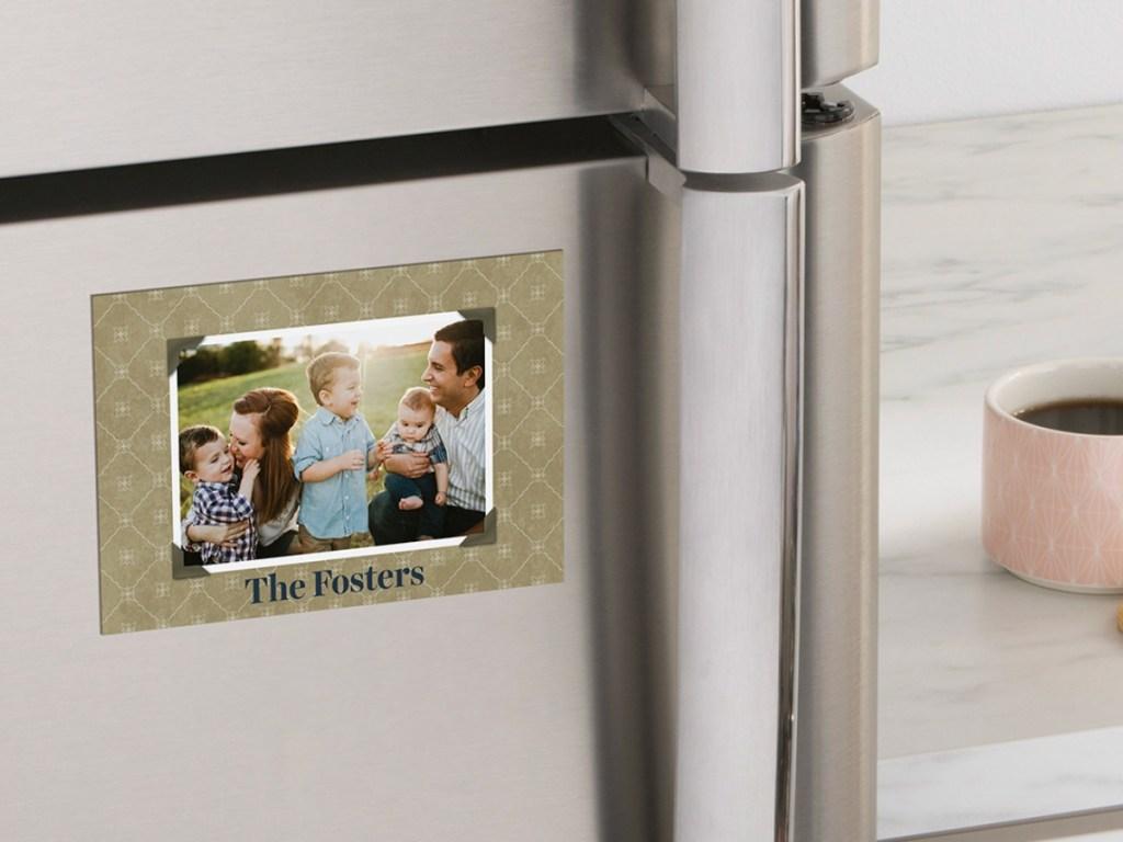 cvs photo magnet on stainless steel fridge