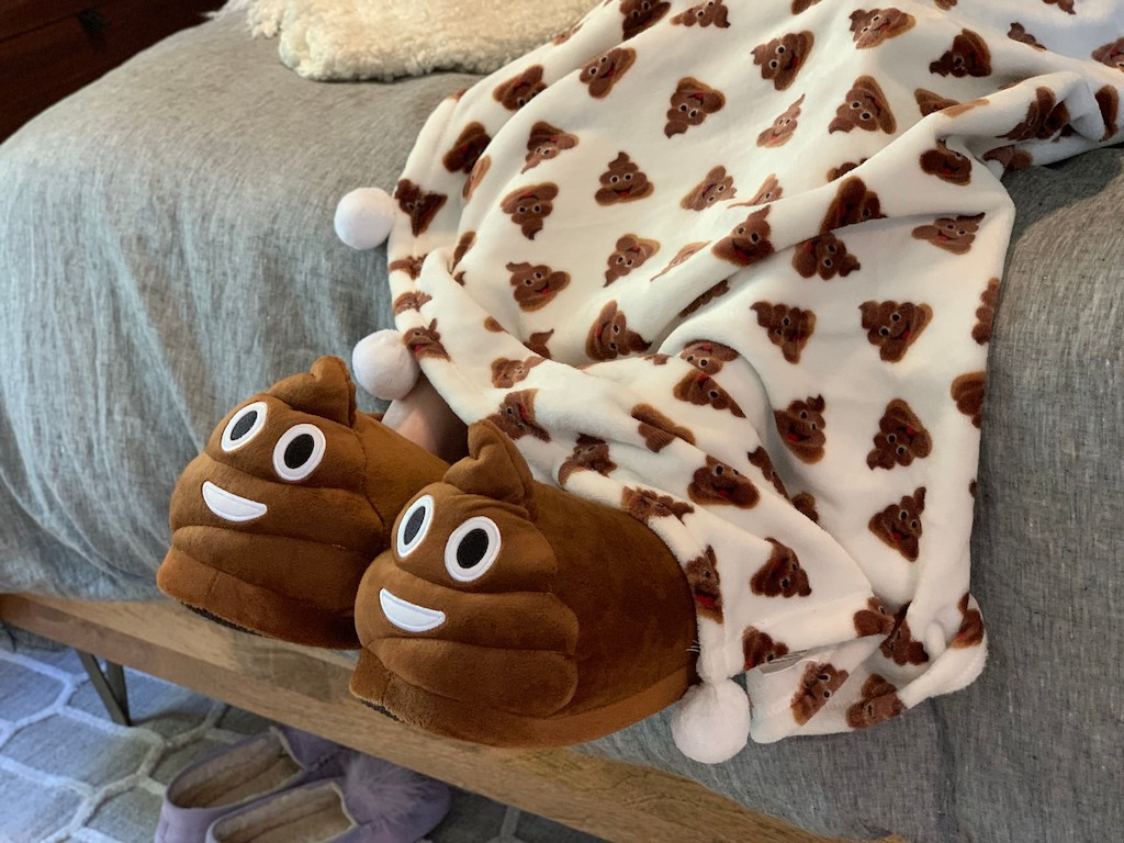 Poop Emoji blanket and slippers