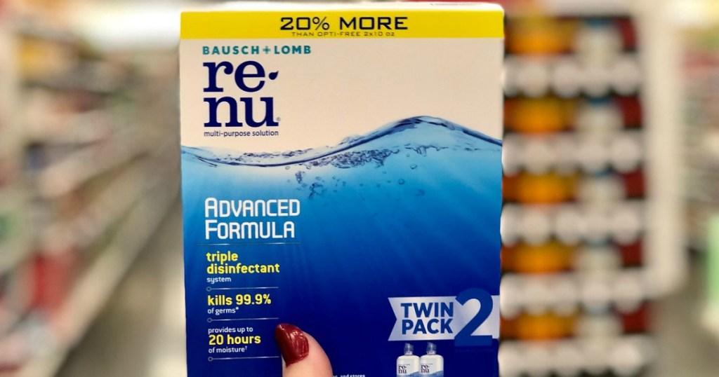 twin box of ReNu contact lens solution