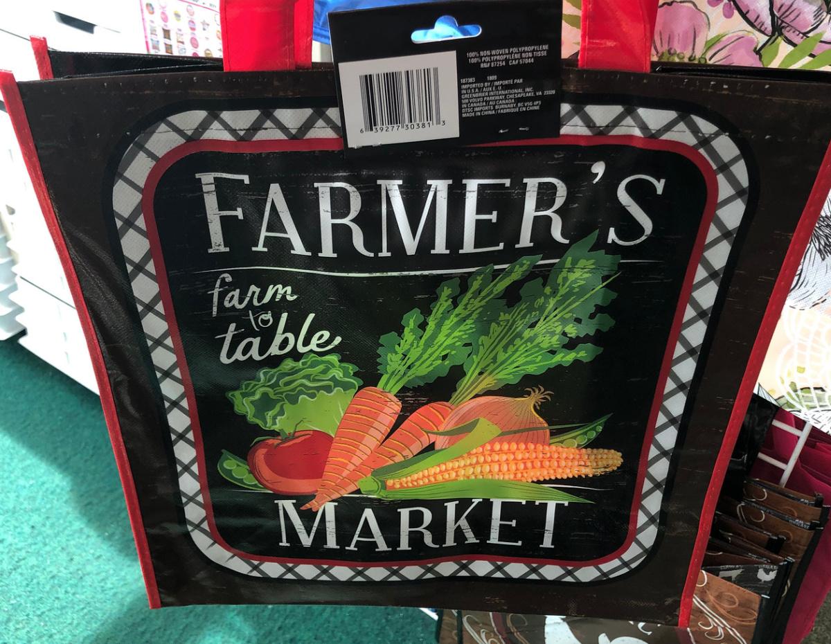 Farmer's Market shopping bag at Dollar Tree