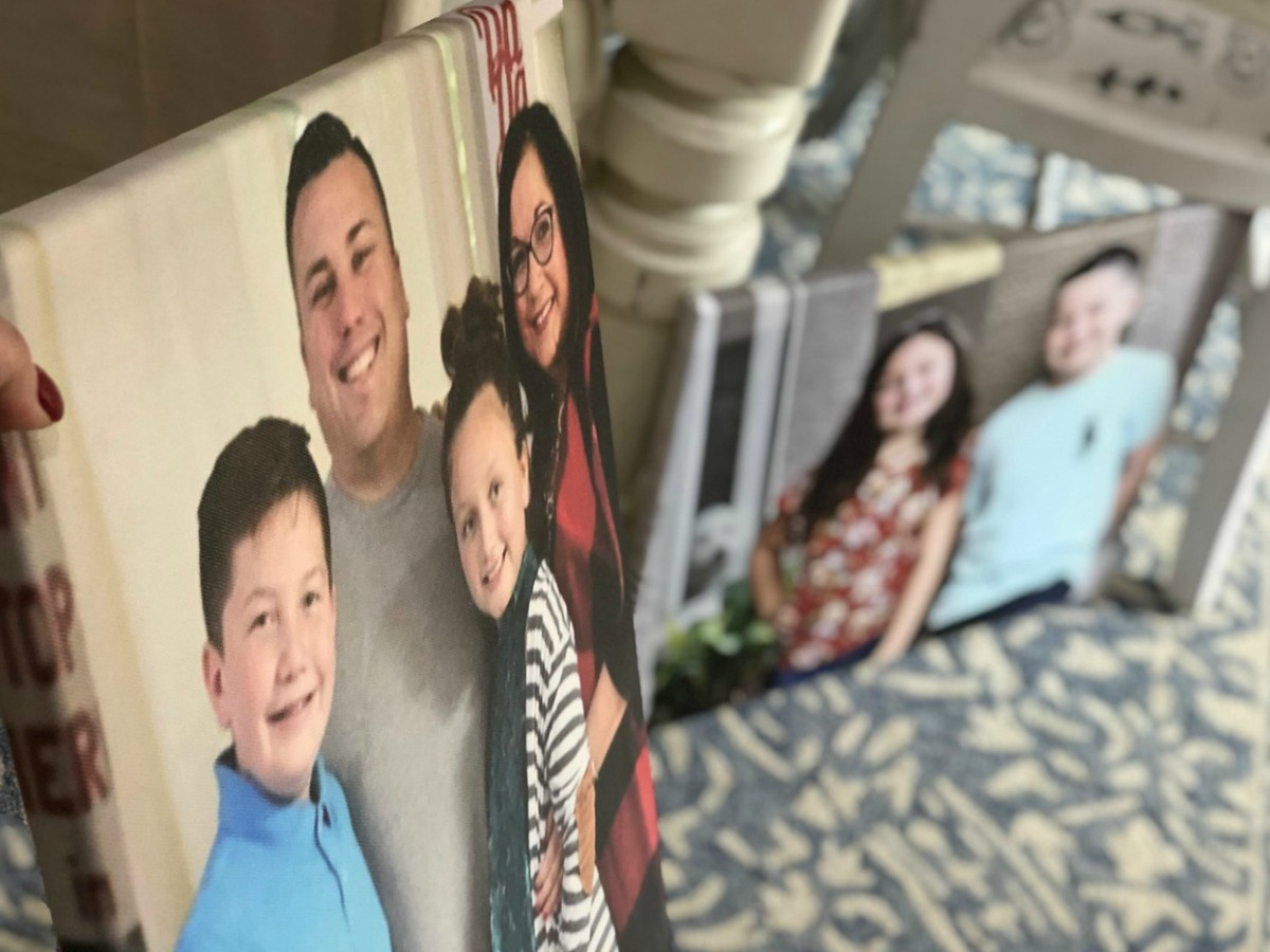 two photo canvases of Lina's family