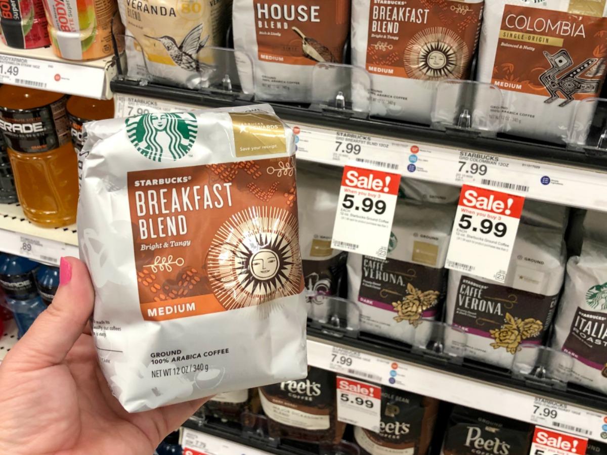 hang holding back of starbucks ground coffee
