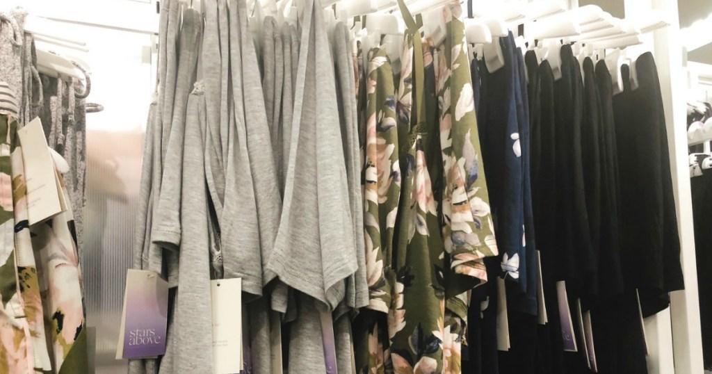 pajamas hanging on rack