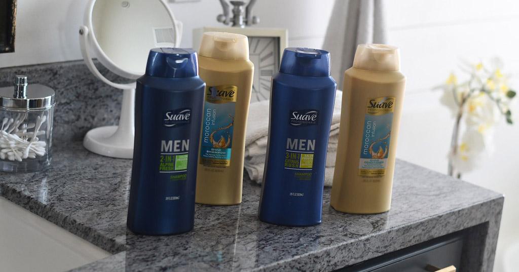 Suave men's shampoo and Moroccan infusion shampoo