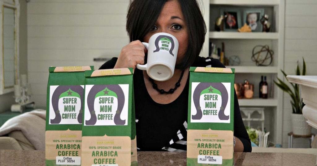 mom drinking super mom coffee