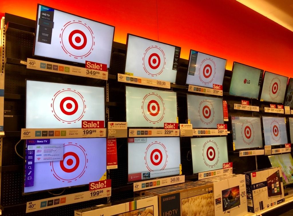 tv's on display at target
