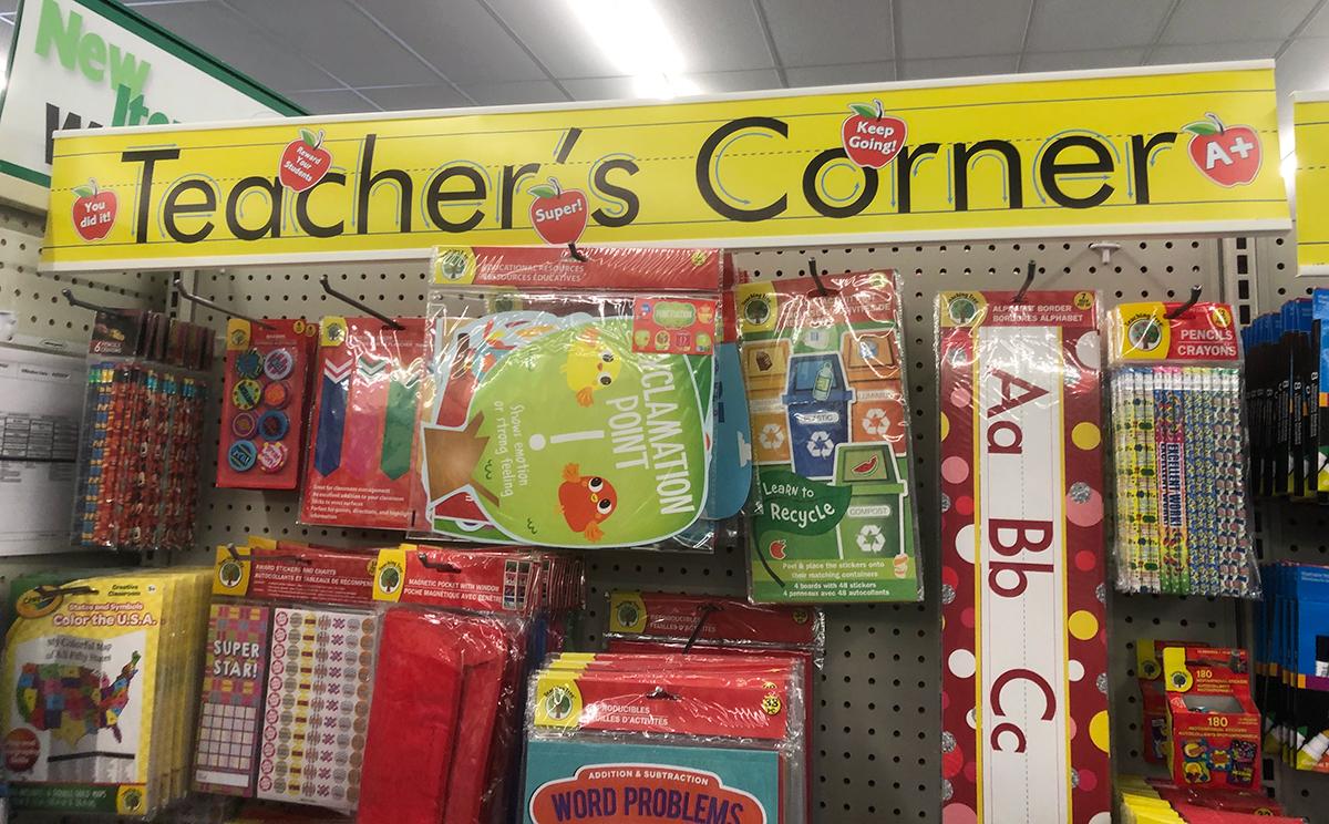 happy friday homeschooling center decor — teacher's corner school supply section at Dollar Tree