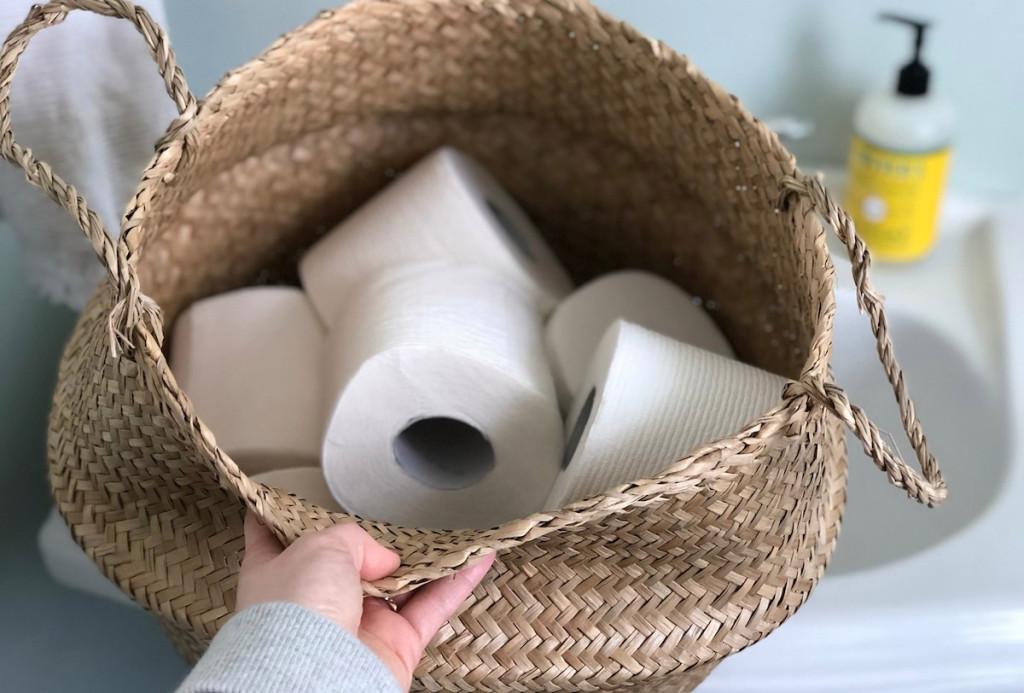 toilet paper rolls in basket