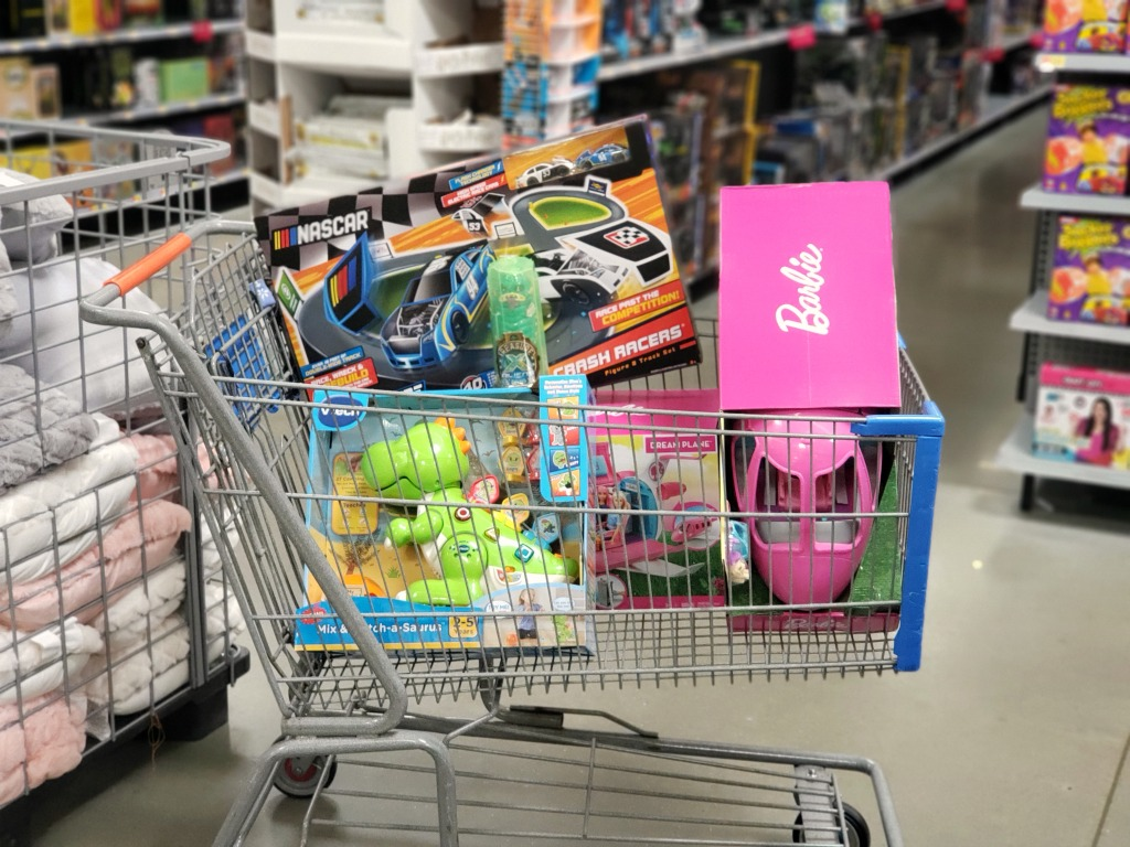walmart cart full of toys in store