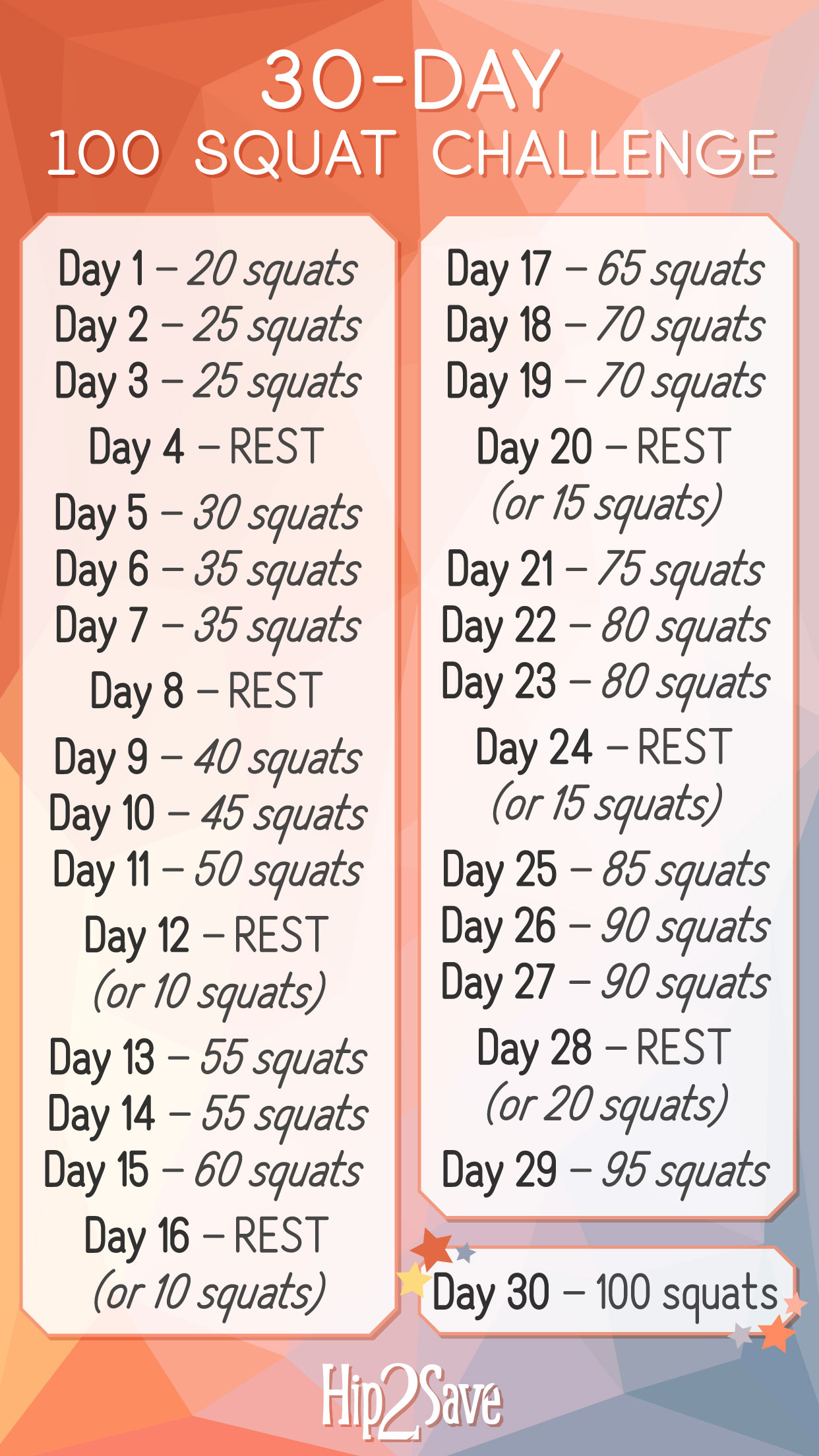 Selective image intended for printable squat challenge