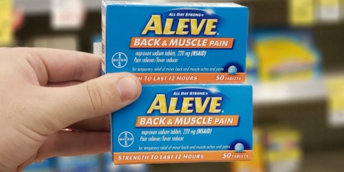 $7 Worth of New Aleve Coupons = Back & Muscle Pain Reliever 50-Count Tablets Just $1.84 Each at Walgreens