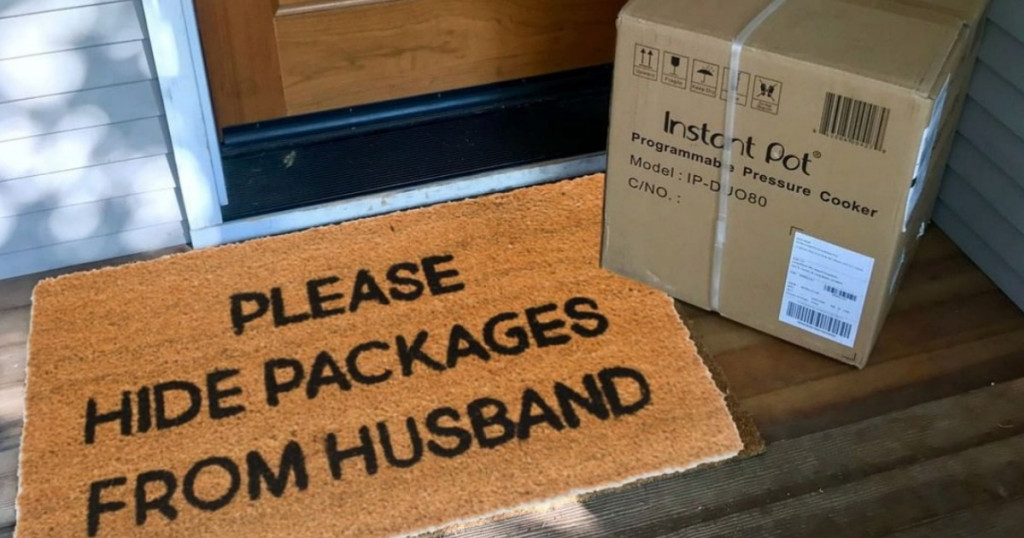 "Doormat that reads ""Please hide packages from husband"""