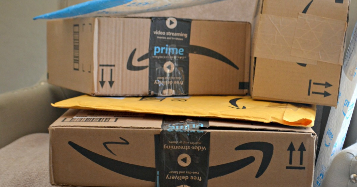 Amazon Prime boxes in a stack