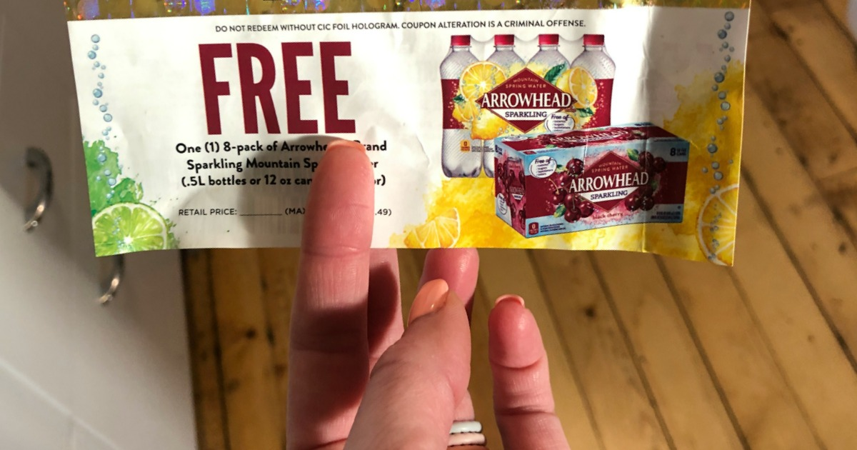 up close picture of a coupon for free arrowhead sparkling flavored water