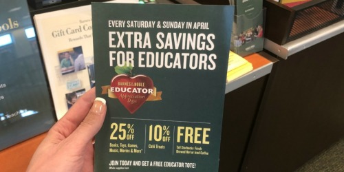 Barnes & Noble Educator Appreciation Days: Free Starbucks Coffee, 25% Off Almost Everything & More