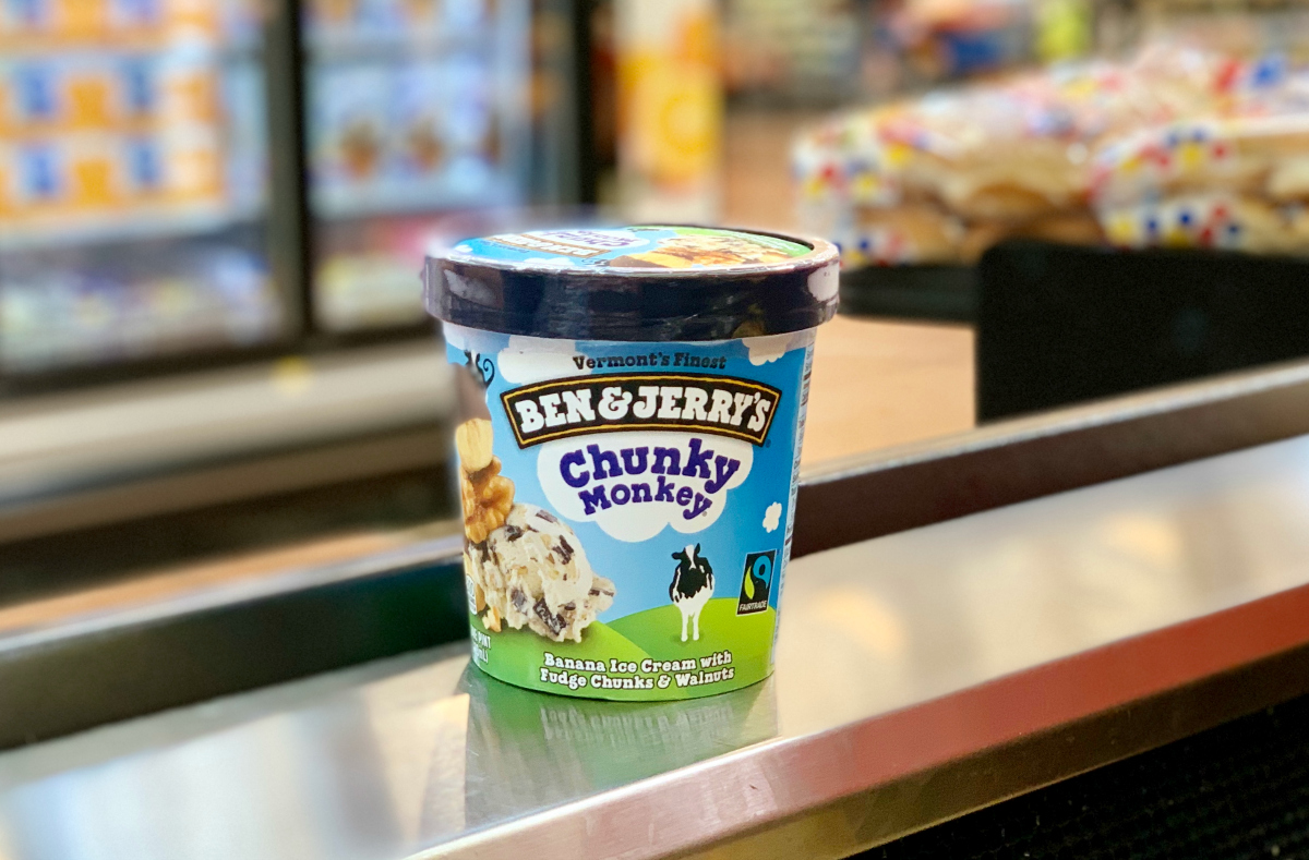 Ben & Jerry's Chunky Monkey on a counter