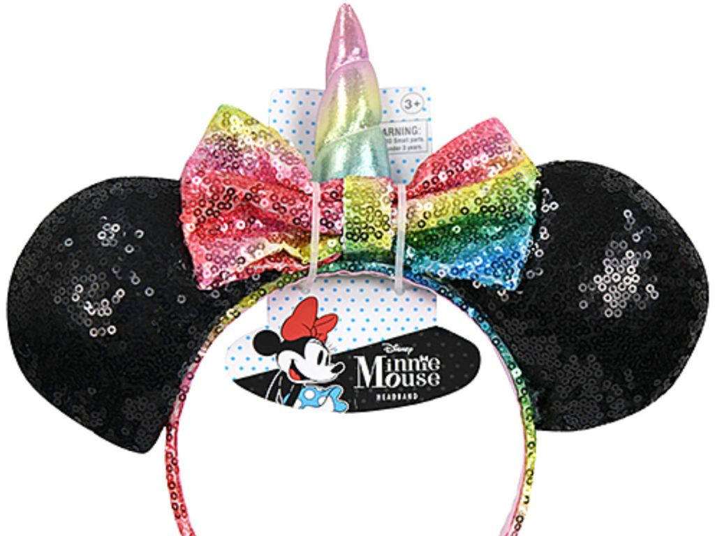 b8968b77fd7d Black & Rainbow Minnie Mouse Unicorn Sequined Headband Only $7.99  (regularly $9.99)!