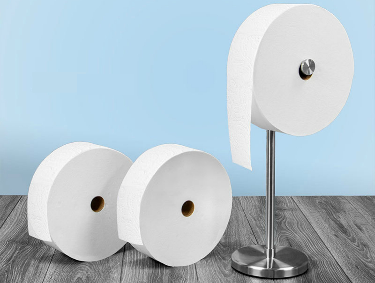 Charmin forever roll Starter Kit includes three rolls of toilet paper and a floor dispenser