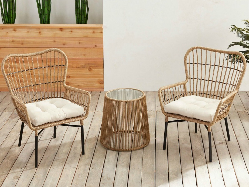 Pier1 Imports Chat 3-Piece Patio Collection w/ Cream Cushions on patio deck
