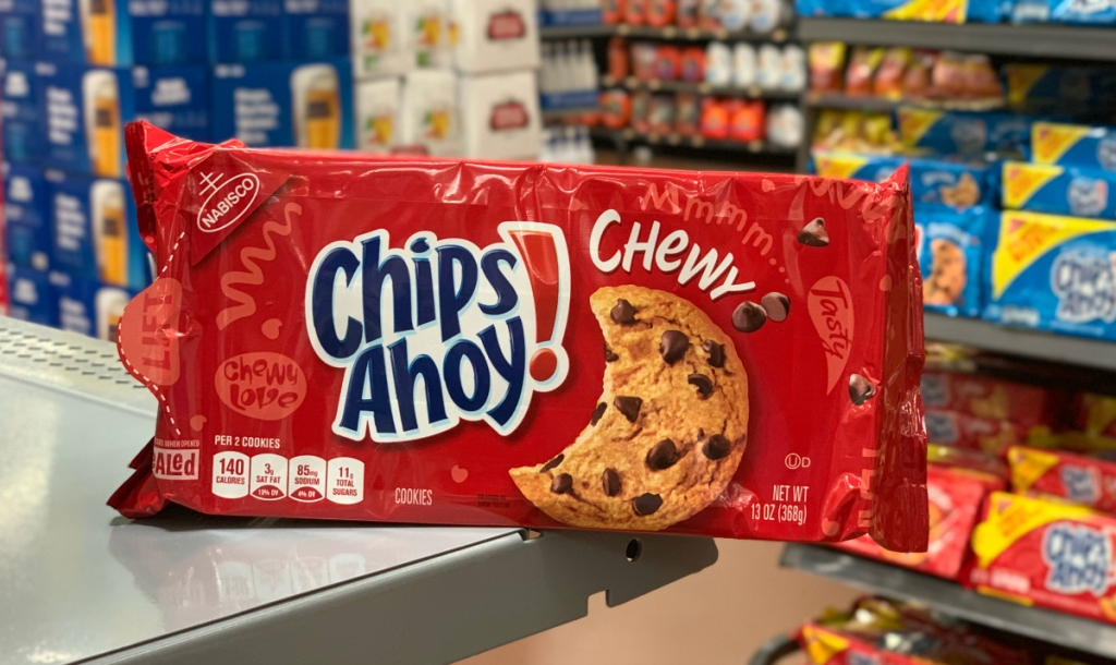Chips Ahoy cookies on shelf