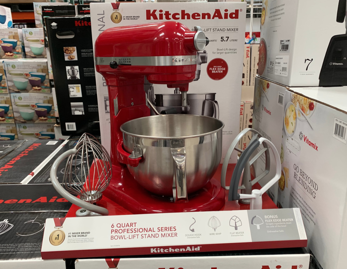 KitchenAid mixer in red at Costco