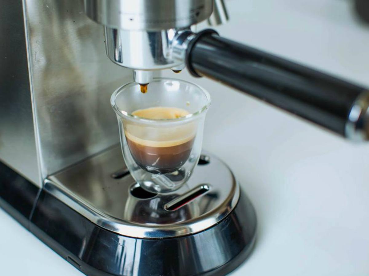 DēLonghi Dedica Espresso and Cappuccino Machine with double wall cappuccino cup
